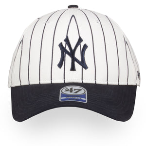 YOUTH New York Yankees Off-White / Navy Blue Pinstripe Adjustable Baseball Cap