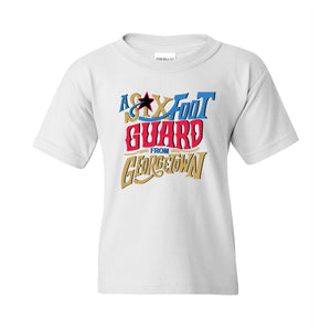 Six Foot Guard From Georgetown Kid's T-Shirt | Allen Iverson White Children's Tee Shirt the front of this kid's t-shirt has the six foot guard design