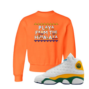 Playa From the Himalaya Safety Orange Kid's Crewneck Sweatshirt to match Air Jordan 13 GS Playground Kids Sneakers