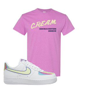 Air Force 1 Low Easter T Shirt | Heather Radiant Orchid, Cash Rules