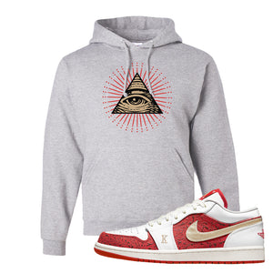 Air Jordan 1 Low Spades Hoodie | All Seeing Eye, Ash