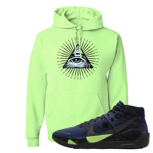 KD 13 Planet of Hoops Hoodie | All Seeing Eye, Neon Green