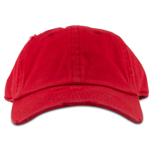 The red youth blank distressed dad hat has a soft crown and a bent brim