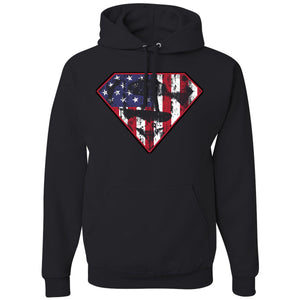 Standard Issue Diamond S Logo American Flag Distressed Black Pullover Grunt Life Hoodie