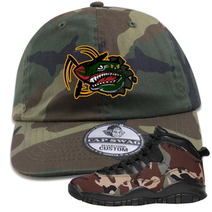 Jordan 10 Woodland Camo Sneaker Hook Up Air Plane Camouflage Dad Hat