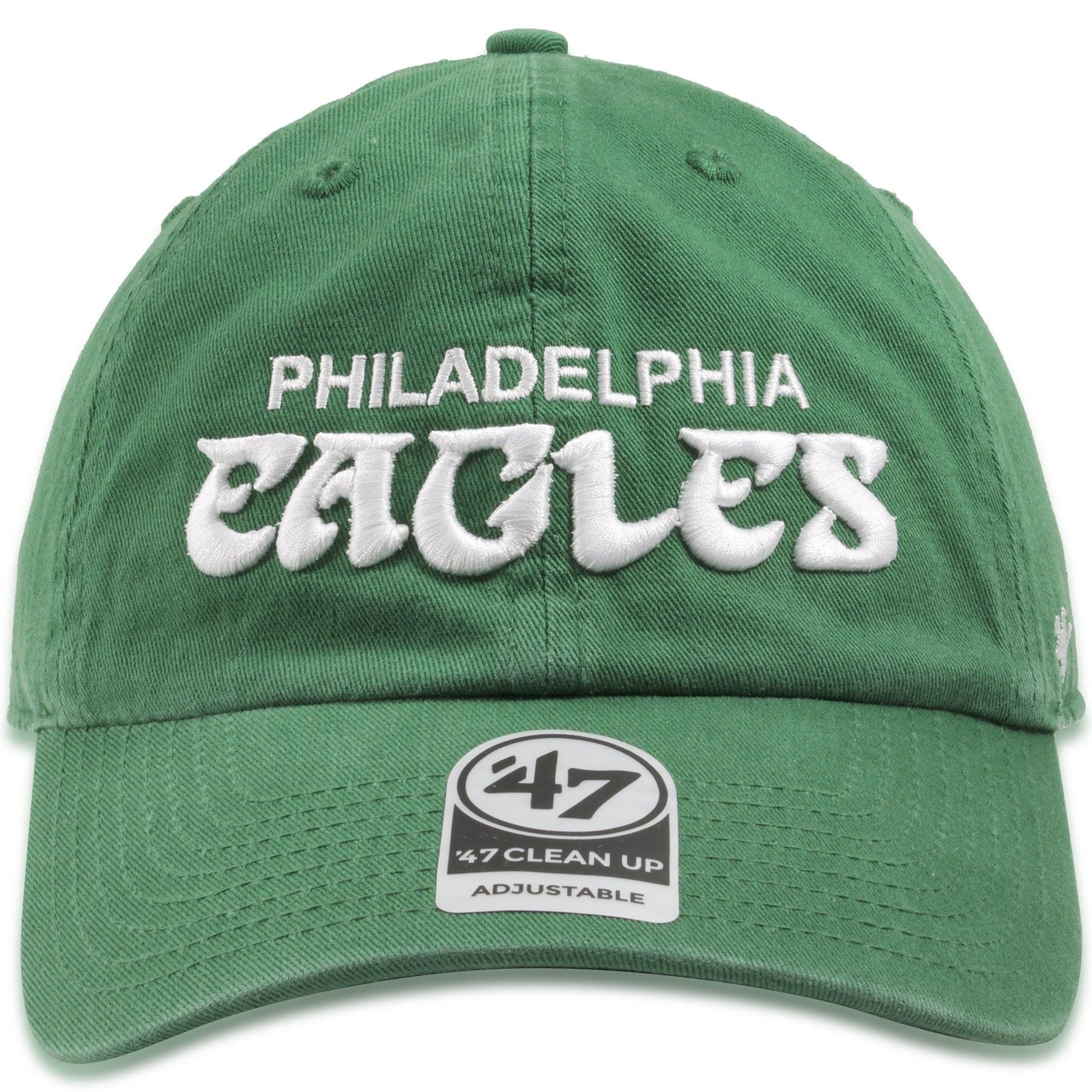 01a6962fa1545 Philadelphia Eagles Vintage Script Wordmark Kelly Green Dad Hat ...