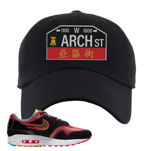 Air Max 1 NYC Chinatown Arch Street Philadelphia Black Dad Hat To Match Sneakers