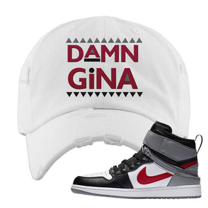 Air Jordan 1 Flyease Distressed Dad Hat | White, Damn Gina