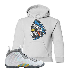 Lil Posite One Rainbow Pixel Kids Hoodie | White, Indian Chief