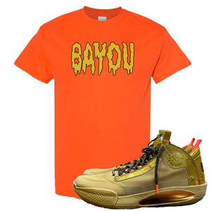 Jordan 34 x Zion Williamson Bayou Boys PE Sneaker Orange T Shirt | Tees to match Air Jordan 34 x Zion Williamson Bayou Boys PE Shoes | Bayou Drip