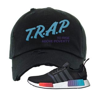 NMD R1 Gradient Distressed Dad Hat | Black, Trap To Rise Above Poverty
