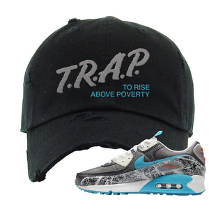 Air Max 90 Rice Ball Distressed Dad Hat | Trap To Rise Above Poverty, Black