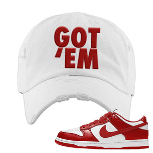 SB Dunk Low St. Johns Distressed Dad Hat | Got Em, White