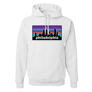 Philagonia Hoodie | Philagonia Skyline White Sweatshirt the front of this hoodie is the city skyline of philadelphia