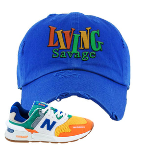 997S Multicolor Sneaker Royal Distressed Dad Hat | Hat to match New Balance 997S Multicolor Shoes | Living Savage