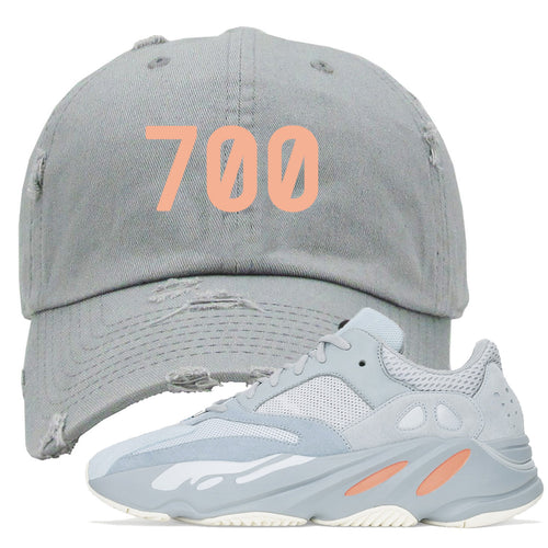 "Yeezy Boost 700 Inertia ""700"" Sneaker Matching Light Gray Distressed Dad Hat"