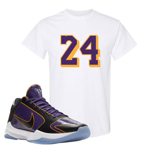 Kobe 5 Protro 5x Champ T Shirt | 24, White