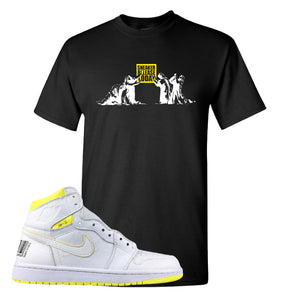 Air Jordan 1 First Class Flight Sneaker Release Today Black Sneaker Matching T-Shirt