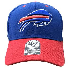 Embroidered on the front of the Buffalo Bills stretch fit cap is the Buffalo Bills logo in blue, red, and white