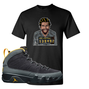 Air Jordan 9 Charcoal University Gold T Shirt | Escobar Illustration, Black