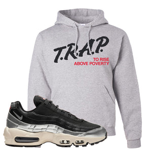 3M x Nike Air Max 95 Silver and Black Pullover Hoodie | Trap To Rise Above Poverty, Ash