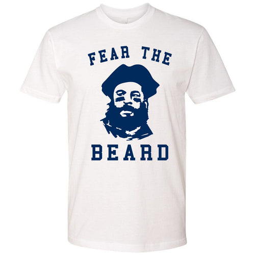 On the front of the Julian Edelman Fear The Beard red t-shirt is the Edelman face wearing a tricorn hat with the words Fear The Beard