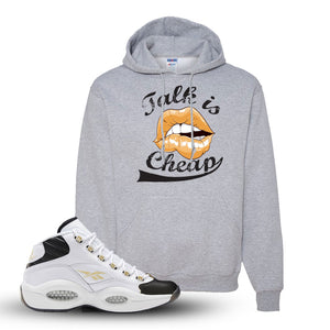 Question Mid Black Toe Sneaker Athletic Heather Pullover Hoodie | Hoodie to match Reebok Question Mid Black Toe Shoes | Talk Is Cheap