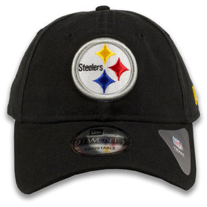 Pittsburgh Steelers Classic Team Logo Adjustable Black 9Twenty New Era Dad Hat
