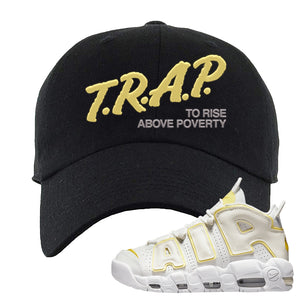 Air More Uptempo Light Citron Dad Hat | Trap To Rise Above Poverty, Black