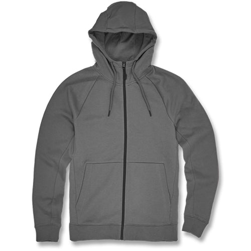 The gray charcoal zip up hoodie from Jordan craig is solid gray with a black zipper down the center