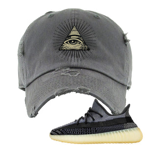 Yeezy Boost 350 V2 Asriel Carbon Distressed Dad Hat | All Seeing Eye, Dark Gray