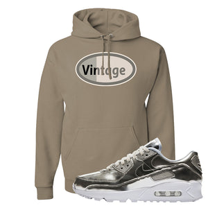 Air Max 90 WMNS 'Medal Pack' Chrome Sneaker Khaki Pullover Hoodie | Hoodie to match Nike Air Max 90 WMNS 'Medal Pack' Chrome Shoes | Vintage Oval