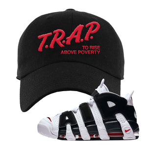 Air More Uptempo White Black Red Dad Hat | Black, Trap To Rise Above Poverty