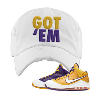 Lebron 7 'Media Day' Distressed Dad Hat | White, Got Em