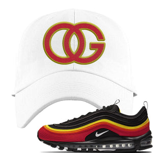 Air Max 97 Black/Chile Red/Magma Orange/White Sneaker White Dad Hat | Hat to match Nike Air Max 97 Black/Chile Red/Magma Orange/White Shoes | OG