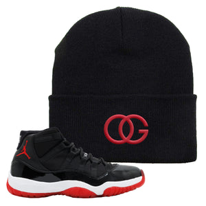 Jordan 11 Bred OG Black Sneaker Hook Up Beanie