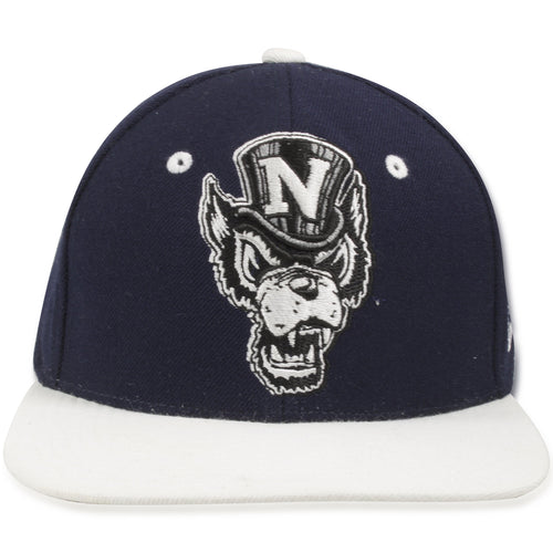 University of Nevada, Reno Wolfpack Navy Blue on White Snapback Hat
