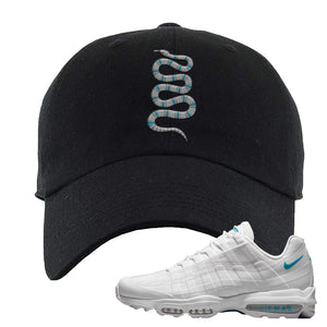 Air Max 95 Ultra White Glacier Blue Dad Hat | Coiled Snake, Black