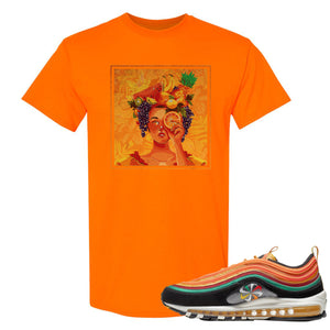 Printed on the front of the Air Max 97 Sunburst safety orange sneaker matching t-shirt is the Lady Fruit logo