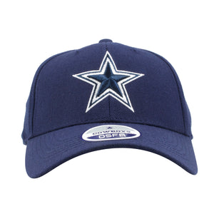 embroidered on front of the navy blue dallas cowboys velcro strap dad hat is the cowboys logo in navy blue and white