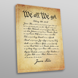 We All We Got Canvas | Jason Kelce Speech Wall Canvas the front of this canvas has jason kelce's speech