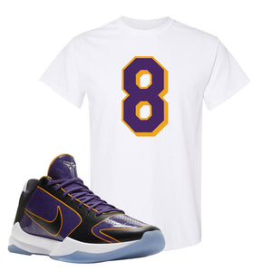 Kobe 5 Protro 5x Champ T Shirt | Number 8, White