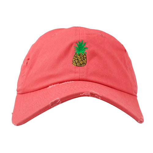 Embroidered on the front of the coral pineapple distressed dad hat is a  pineapple logo embroidered 63ae835d7a18