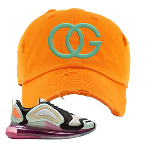 Air Max 720 WMNS Black Fossil Sneaker Orange Distressed Dad Hat | Hat to match Nike Air Max 720 WMNS Black Fossil Shoes | OG