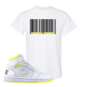 Air Jordan 1 First Class Flight First Class Barcode White Sneaker Matching T-Shirt