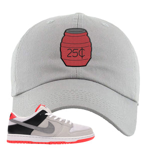 Nike SB Dunk Low Infrared Orange Label Quarter Water Light Gray Dad Hat To Match Sneakers
