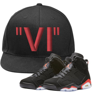 The Jordan 6 Infrared Snapback Hat is custom designed to perfectly match the retro Jordan 6 Infrared sneakers from Nike.
