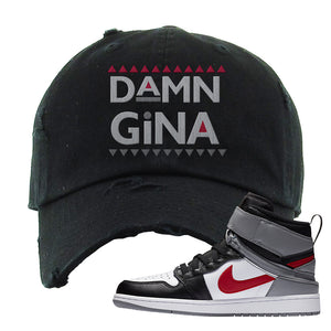Air Jordan 1 Flyease Distressed Dad Hat | Black, Damn Gina