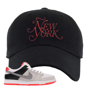 Nike SB Dunk Low Infrared Orange Label Ã'ew York Black Dad Hat To Match Sneakers