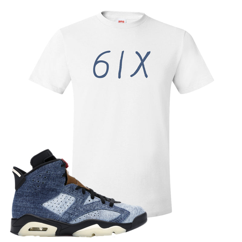 Jordan 6 Washed Denim T Shirt | White, 6ix